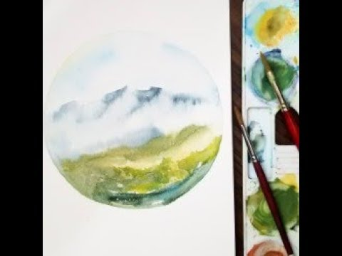 Watercolor landscape painting in a circle