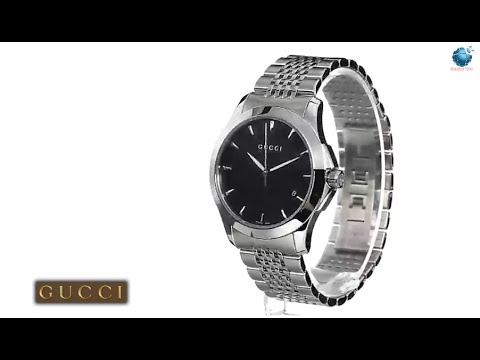 11391fc8eb7 Gucci Men s YA126402 G Timeless Medium Black Dial Stainless Steel Watch
