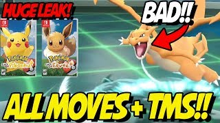 ALL MOVES LEAKED! TMS, LEVEL UP and MORE! COMPETITIVE! Pokemon Let's Go Pikachu and Eevee!