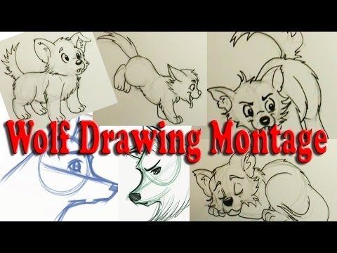Montage Drawings Of Cartoon Wolfpups And Wolf Heads