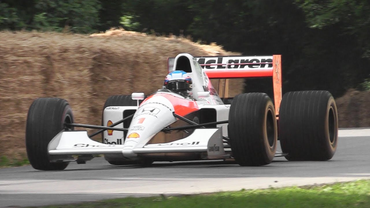 1991 mclaren mp4/6 f1 sound - honda 3.5 v12 engine screams at