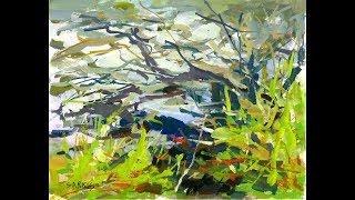 "Artist Sarkis Antikajian's Landscape TIMELAPSE Gouache Painting Demo:  ""Bank By The Stream"""