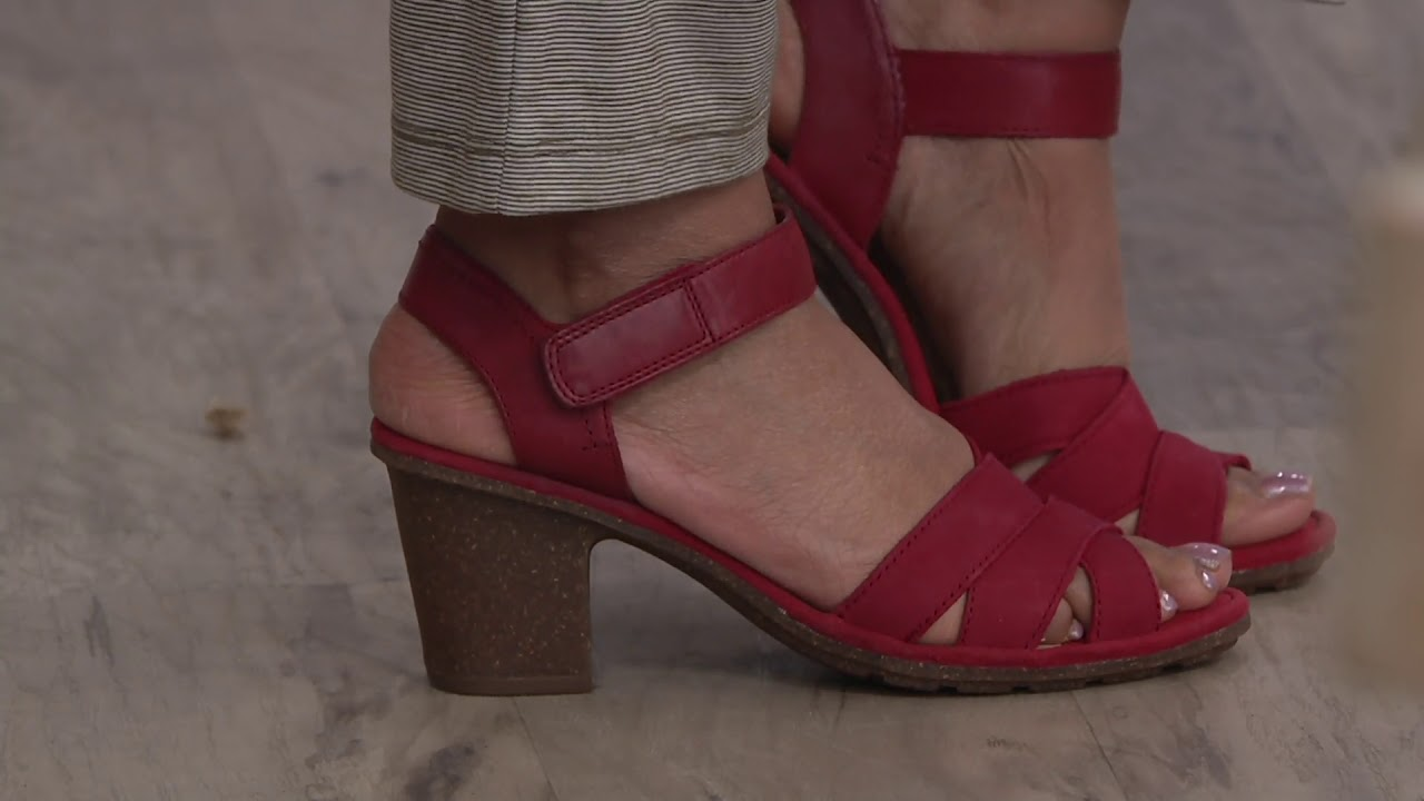 9b403b79c5b Clarks Leather Two-Piece Mid-Heel Sandals - Sashlin Jeneva on QVC ...