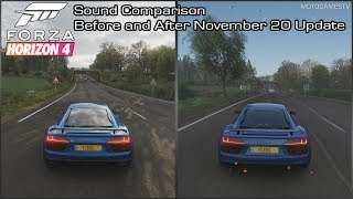 Forza Horizon 4 - 2016 Audi R8 V10 Plus Sound Comparison - Before and After November 20 Update