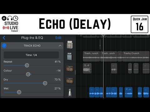 How to use echo (delay) in GarageBand iOS (iPhone/iPad)