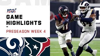 Rams vs. Texans Preseason Week 4 Highlights | NFL 2019