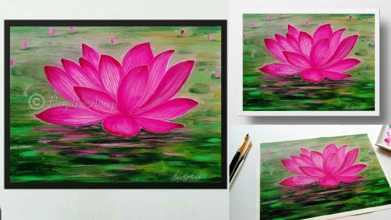 Making Of Easy Acrylic Painting Lotus Painting Pond Acrylics