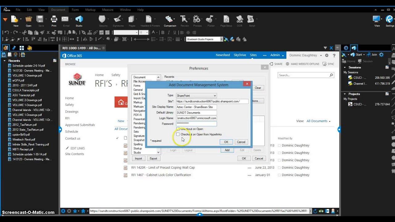 Sundt Bluebeam Sharepoint Integration