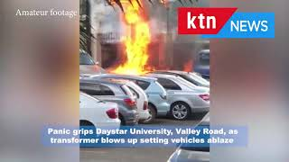 Panic grips Daystar University, Valley Road, as transformer blows up setting vehicles on fire