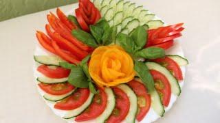 Невероятно КРАСИВАЯ подача ОВОЩЕЙ! Роза из помидор. Нарезка овощная.