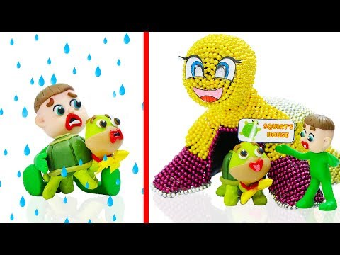 SUPERHERO BABY BUILDS MAGNETIC PLAYHOUSE 💖 Play Doh Stop Motion Cartoons