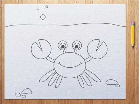 How to draw a crab | aprender a dibujar langosta - YouTube  How to draw a c...