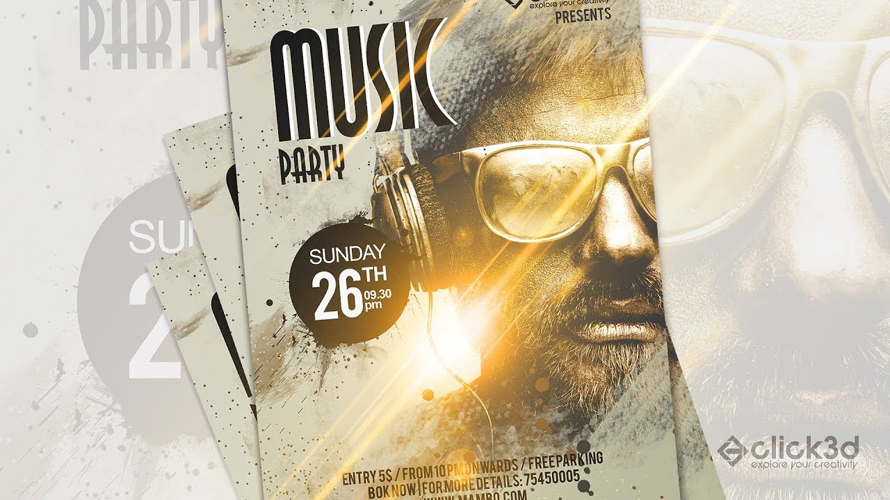 music party poster design in photoshop click3d youtube