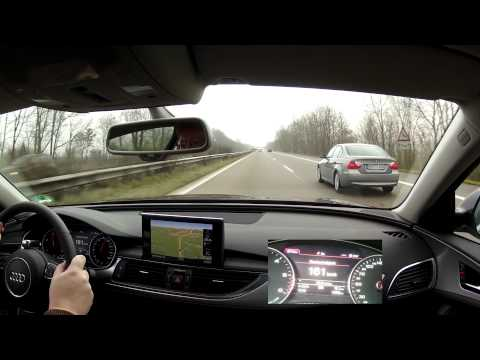 Driving an Audi A6 3.0 TDI Quattro fast on the German Autoba