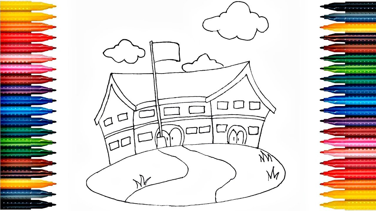 How to Draw School Building Drawing School Building and ...