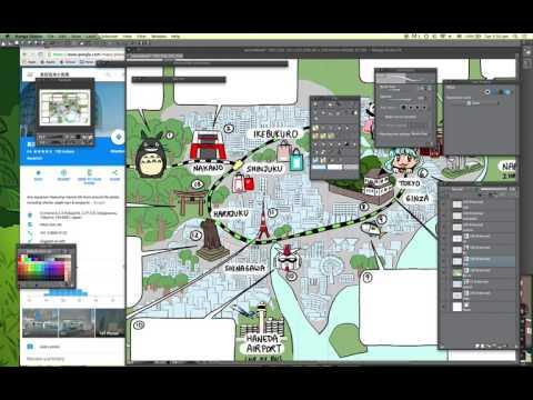 Drawing Tokyo tourist map using Manga Studio EX 5 - Part 2