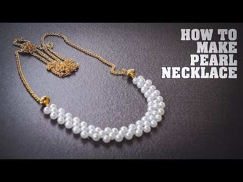 How To Make Pearl Necklace with Gold Chain - DIY Pearl Jewellery Making Tutorial at Home