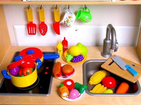 Thumbnail: Learn Names of Fruits and Vegetables with toy velcro cutting food & Masha and the Bear