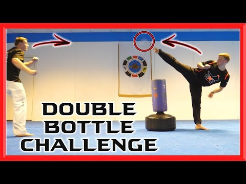 Martial Arts Double Bottle Challenge | Taekwondo Kick Challenge