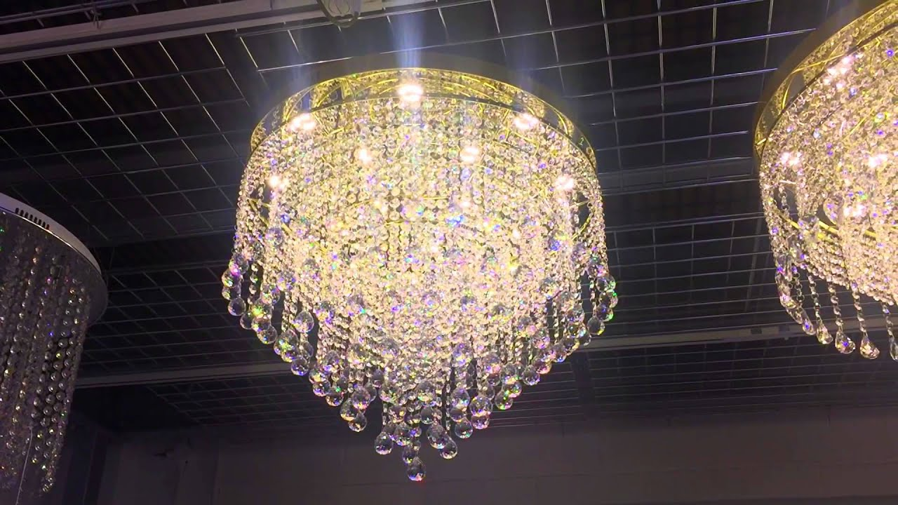 60cm Led Crystal Balls Flush Gold Chandelier by First Class