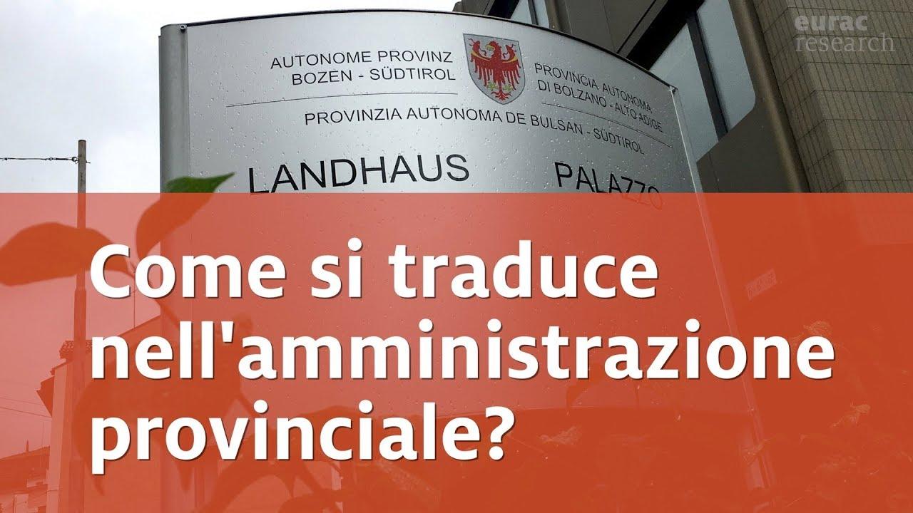 Come si traduce nellamministrazione della Provincia di Bolzano  YouTube