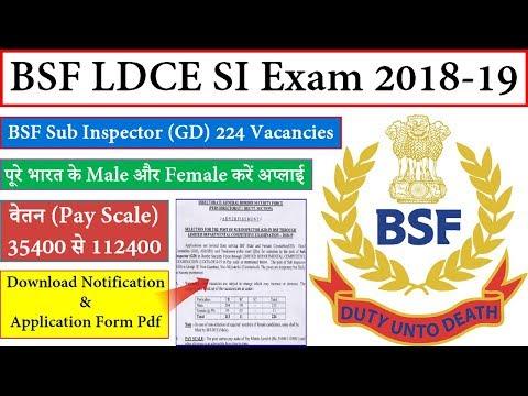 BSF LDCE SI Vacancy 2018 19 LDCE Sub Inspector