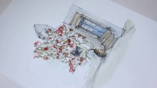 Watercolour in Process #8 - Architectural Speed Drawing Of An Entrance With Plant