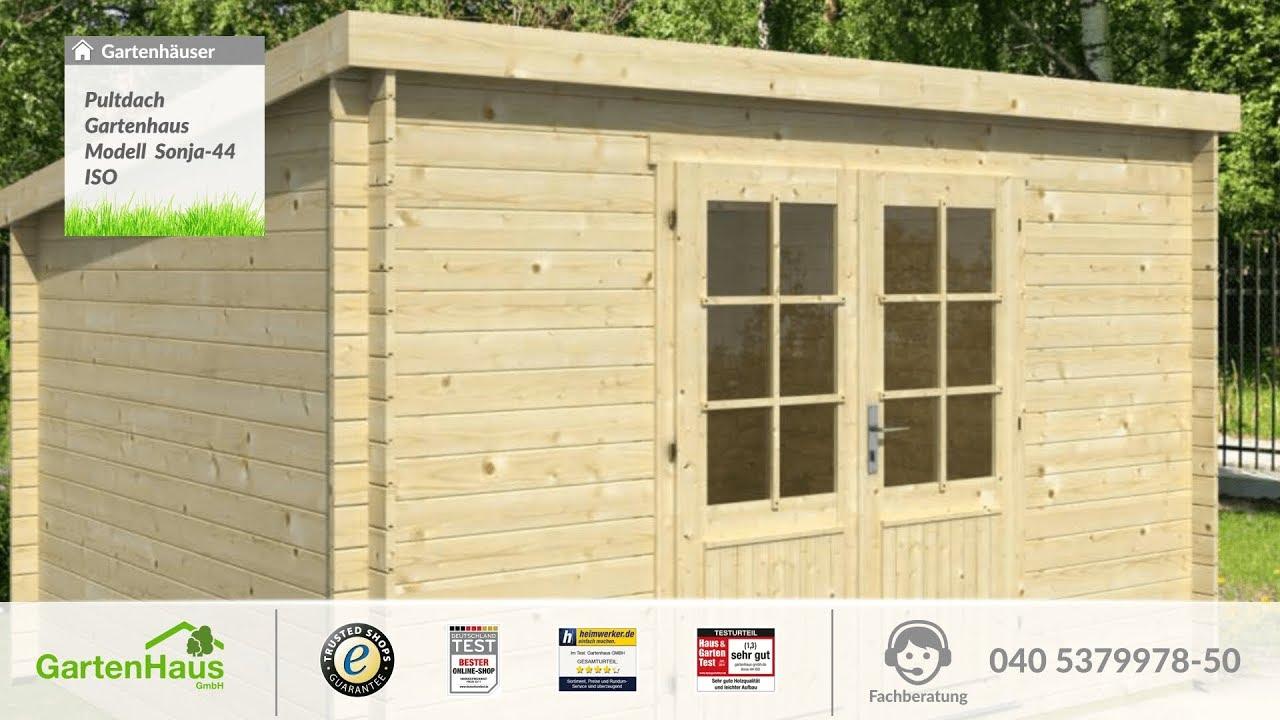 pultdach gartenhaus modell sonja-44 iso - youtube