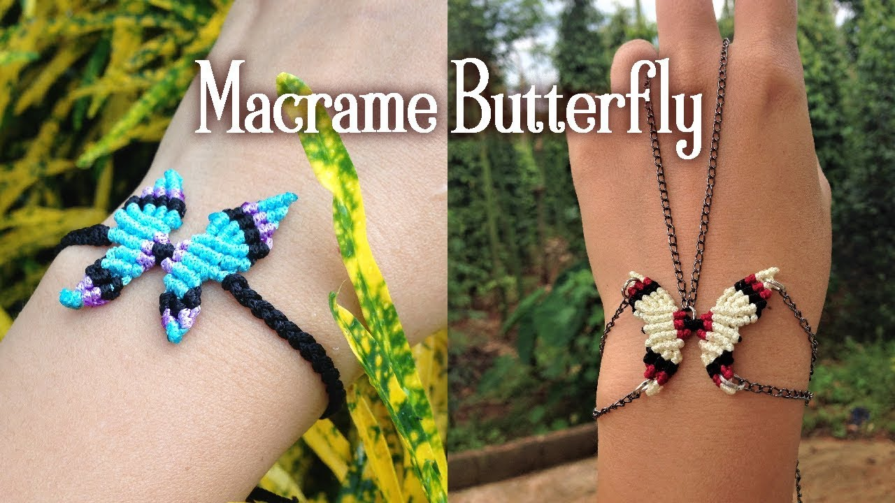 Butterfly macrame charm bracelet