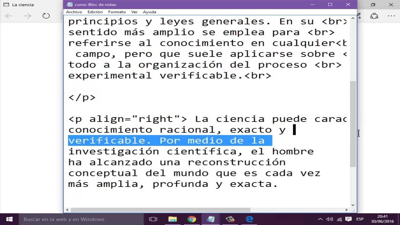 Curso de HTML 02. (Alinear o justificar texto) - YouTube