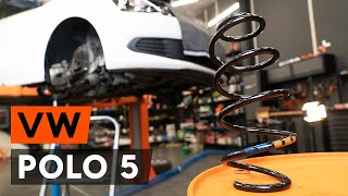 How to replace front springs / coil springs on VW POLO 5 Saloon [TUTORIAL AUTODOC]