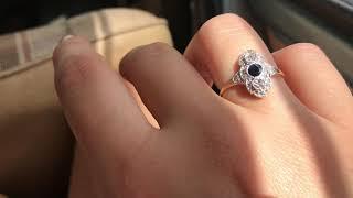 Art Deco sapphire & diamond gold engagement ring