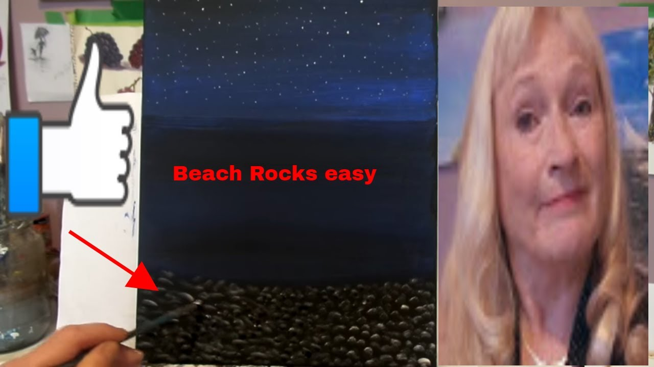 Painting Rocks With Acrylic Paint On A Night Beach For The