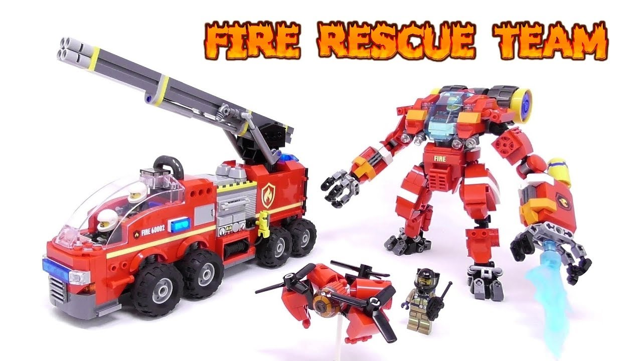 Lego Fire Rescue Team Mech Firetruck Drone Build Video Youtube