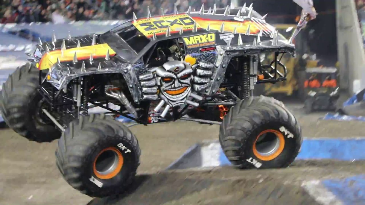 Tom Meents poses with his truck Max-D during a media ... |Tom Meents Monster Truck Driver