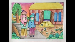 "Cara gradasi warna pensil warna ""Tema hijab"