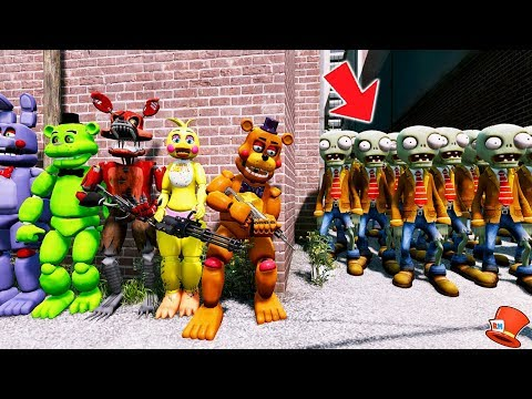 ANIMATRONICS vs 9999 ZOMBIES! PLANTS vs ZOMBIES! (GTA 5 Mods For Kids FNAF RedHatter)