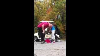 two idiots flip a golf cart fail