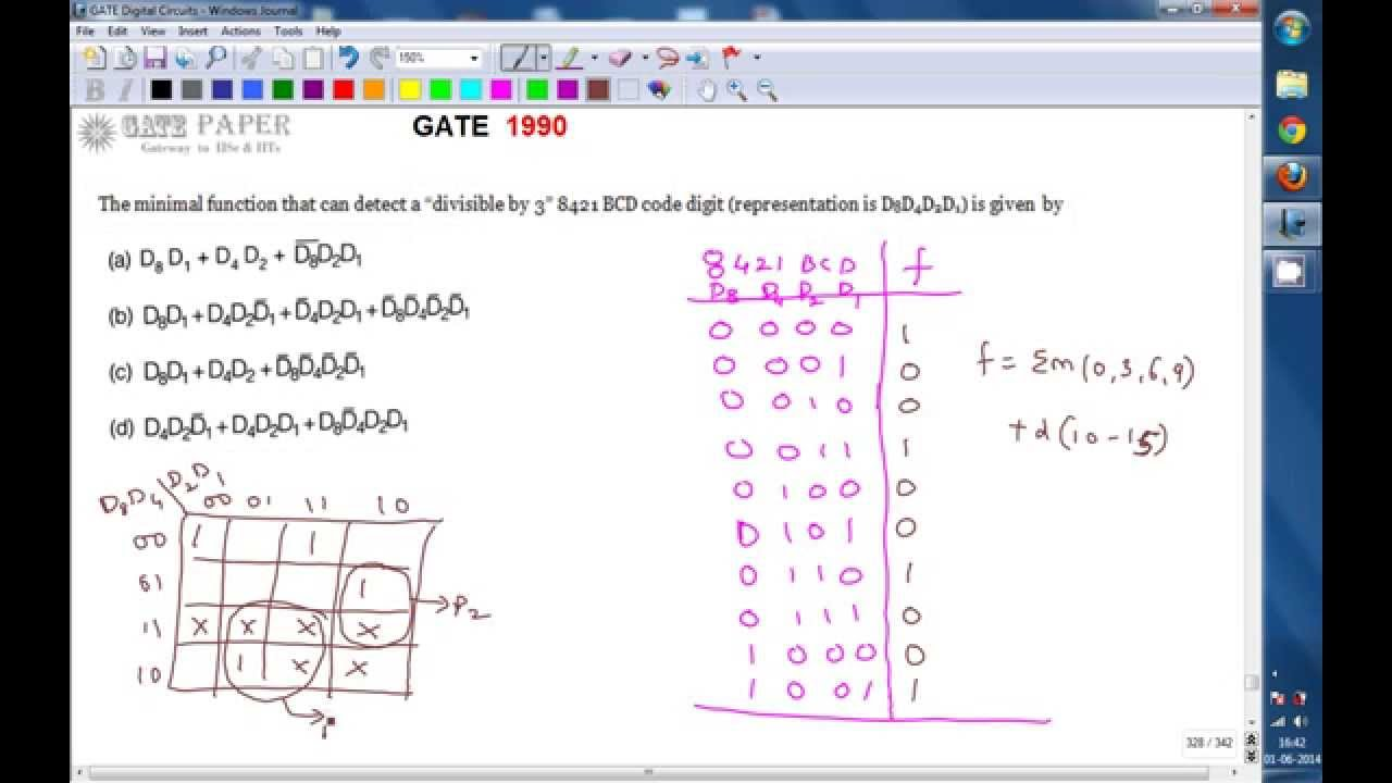 Gate 1990 Ece Minimal Function That Can Be Divisible By 3 In 8421 Schematic For Converting Excess To Bcd Code