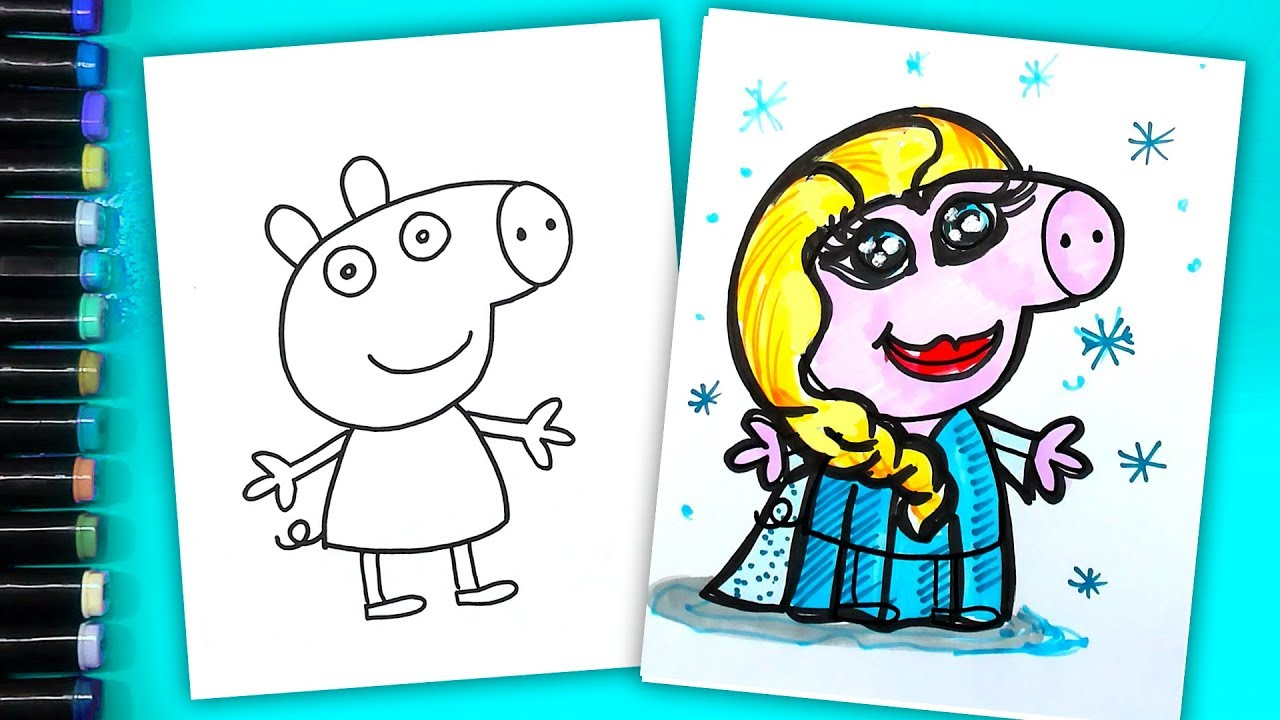 Peppa Pig Coloring Elsa DISNEY FROZEN Coloring Book Pages