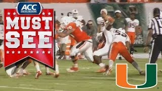 Miami LB Denzel Perryman Lights up Gus Edwards in Spring Game | ACC Must See Moment