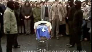 INLA members Seamus Grew and Roddy Carroll going to their graves.