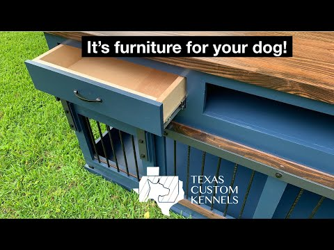 Double Dog Entertainment Center with Barn Doors - product overview - Custom Wooden Dog Crate