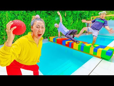 $10,000 DOLLAR DODGEBALL CHALLENGE!! (DON'T FALL IN THE POOL)