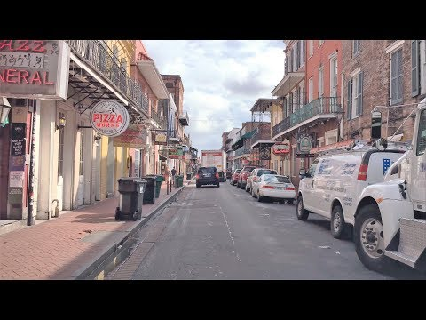 Driving Downtown - New Orleans' Bourbon Street 4K - USA
