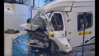 Krocktest av husbilar – Crash test of motorhomes | Trafikverket