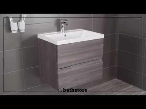 Vermont 600 basin and grey avola wall mounted vanity unit