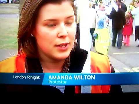 Aveley village protest 3rd OCt 09 on Itv News