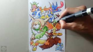 All Starters Pokemon #6 - Pokemon Drawing | Labyrinth Draw