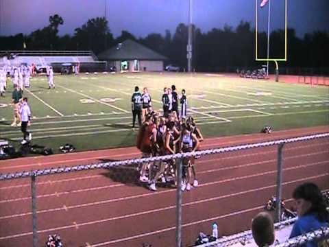 Pershing Middle School cheerleaders - first football game 2011.mpg